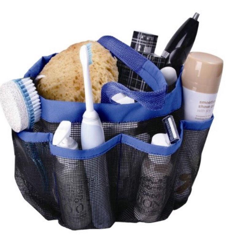 Dorm Shower Caddy Mesh Blue 8 Pockets Portable Tote Bag Quick Dry Bath Organizer