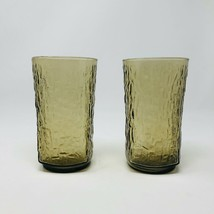 2 Vintage Anchor Hocking PAGODA glasses Tawny Brown Bamboo Glassware Mid... - $20.79