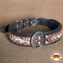U-C109 Hilason Heavy Duty Genuine Leather Dog Collar Floral Carving Brown - $27.95