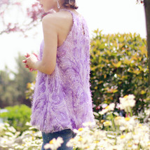 Women Halter Neck SEQUIN TOPS Sleeveless Sequined Party Tops Purple Retro Style  image 2