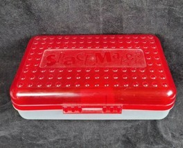 Vintage Spacemaker Pencil Box Plastic Storage Cases Light Red Top Clear ... - $9.99