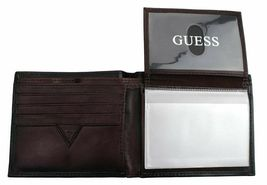 New Guess Men's Leather Credit Card Id Wallet Passcase Bifold Black 31GU22X018 image 9