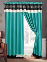 4Pc Greek Key Meander Motif Embroidery Curtain Set Turquoise Black Ivory Valance - $40.89
