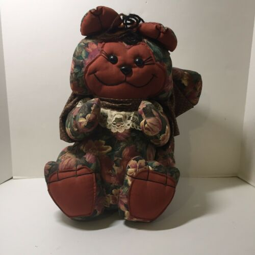 Primary image for Kitty Cat Stuffed Animal Shelf Sitter Door Greeter Brown Bear Stitches 15.5""
