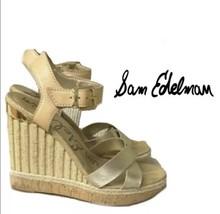 Sam Edelman Gold Wedge Open Toe  Sandal Size 7.5 - $45.60