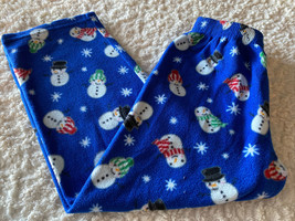 Childrens Place Boys Blue White Snowman Snowflakes Fleece Pajama Pants 7-8 - $8.33