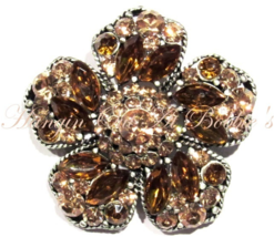 Flower Pin Brooch Champagne Brown Crystal Multicolor Silver Tone Metal S... - $29.99