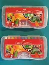 Lot 2 Faber Castell Non-Toxic 12 Oil Pastel Set With Storage Case #124012 NEW - $14.93