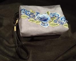 Clutch Bag/Wristlet/Makeup Bag Blue Floral Applique on Gray Faux Suede image 1