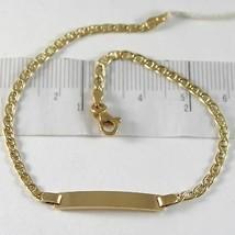 Pulsera de Oro Amarillo 750 18K, Jersey Marina y Placa para Grabado, 19 CM - $304.15