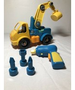 Battat Take Apart Construction Crane Toy Truck Yellow & Blue W Drill Tools - $9.74