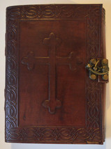 Journal Leather with Embossed Celtic Cross with Metal Lock - Brand New Gift - $22.95
