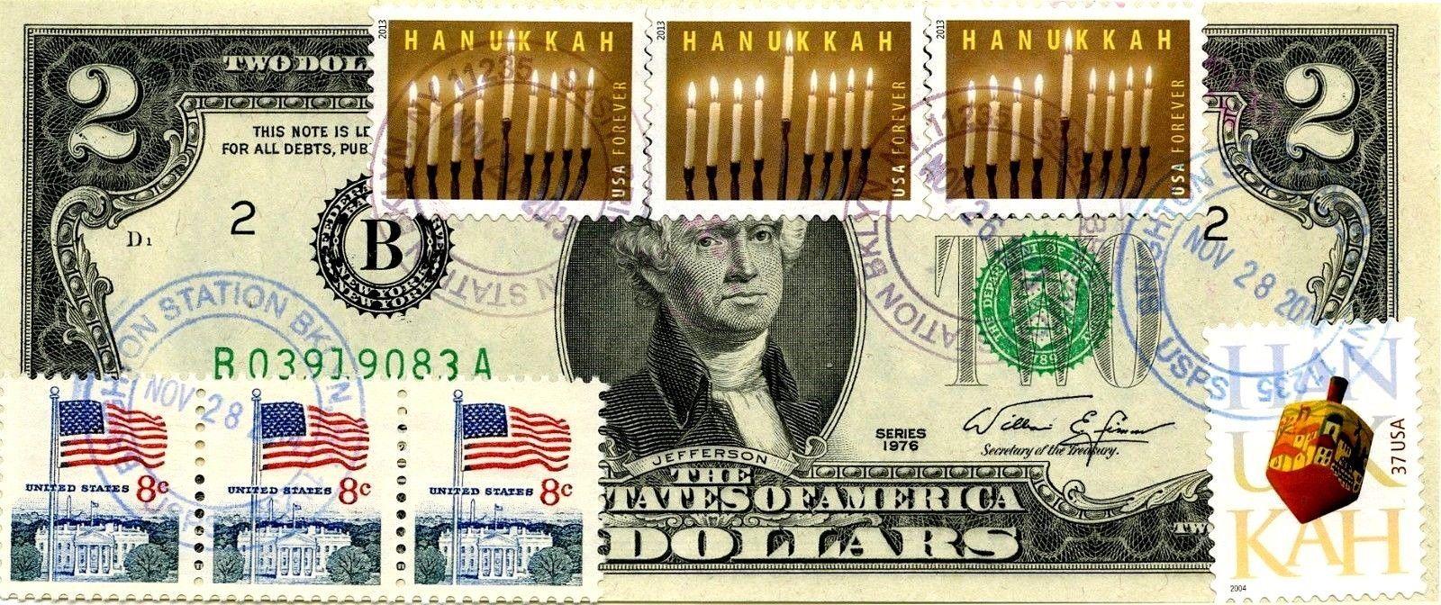 MONEY US $2 DOLLARS 1976 NEW YORK  FIRST DAY STAMP CANCEL & HANUKKAH GEM UNC
