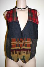 SAHIBA Vest Sz L Gray Red Plaid Southwestern Pattern Wool Rayon Button Down - $9.49