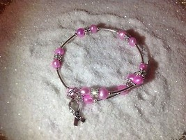 Awareness *Pink* Freshwater Pearl Wire Wrap Silver Bracelet Bangle w/charm - $11.95