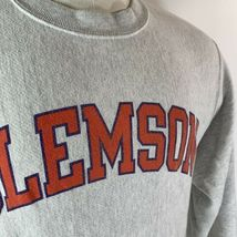 Vintage Champion Reverse Weave Clemson Tigers Crewneck Sweatshirt Heather Gray M image 4