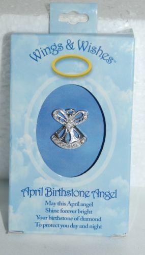DM Merchandising Wings Wishes WGW04 April Birthstone Angel