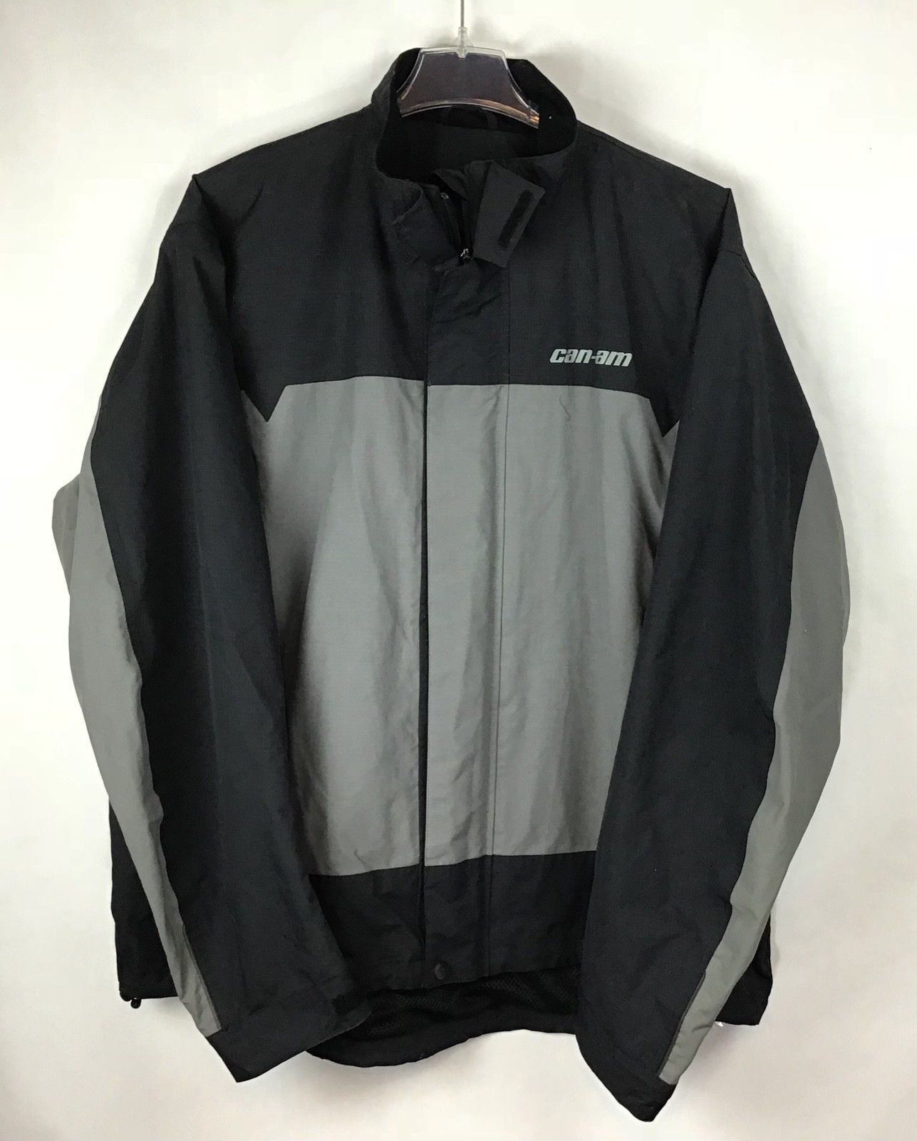 CanAm BRP XXL Mens Rain Riding Jacket 2XL FLAWED Nylon Black Spyder NWT A9-21