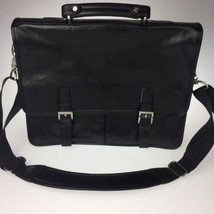 Kenneth Cole Reaction Black Leather A Brief History Soft Briefcase - $39.59