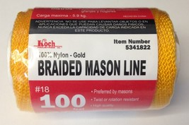 Koch Industries 5341822 100% Nylon Gold Braided Mason Line #18 x 100 Feet - $2.97