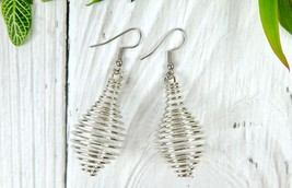 African Tribal Silver Dangle Earrings, Unique Geometric Jewelry for Mini... - $7.00