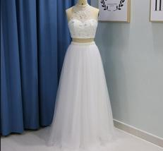 White Beaded Crystal Long Prom Dresses Two Pieces Pageant Gowns For Wome... - $165.22