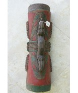 Rare Polychrome Kundu Tribal Drum Hand carved Painted Ramu river New Gui... - $569.99