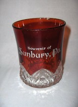 Vintage Ruby Flash Pressed Glass Souvenir Sunbury, PA NICE - $44.55