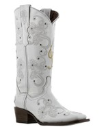 Cowboy Boots Women Wedding I Do Rhinestones Floral Paisley Gold White Sq... - €127,00 EUR