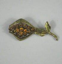 Brooch Blooming Flower Goldtone Unsigned Pin Vintage Leaf Rhinestones Or... - $29.69