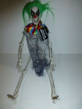 "Halloween 16"" Poseable Plastic Hanging Clown Skeleton Green Hair Decorat... - $12.86"