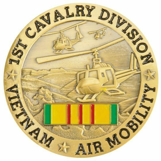 "ARMY 1ST CAVALRY DIVISION VIETNAM AIR MOBILITY RIBBON 1.75"" CHALLENGE COIN"
