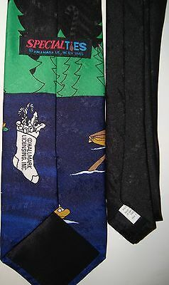 Mens Hallmark Fishing Santa Christmas Tie Neck Holiday Whimsical Gag