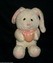 "12"" Vintage 1988 Dakin Baby White Bunny Rabbit W/ Egg Stuffed Animal Plush Toy - $23.38"