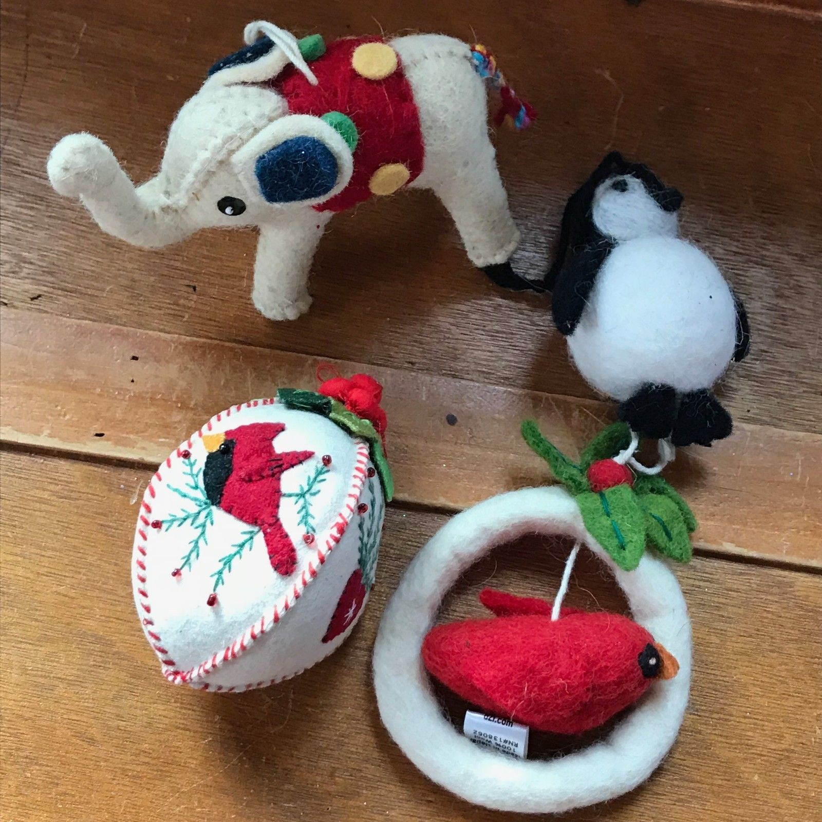 Lot of Cream Elephant Cardinal in Wreath Penguin Boiled Wool Felt Christmas Tree