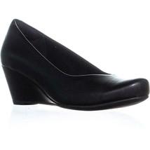 Clarks Flores Tulip Slip On Wedge Pumps, Black Leather, 5.5 US / 35.5 EU - $38.39