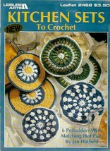 Kitchen Sets to Crochet 6 Potholders with Matching Hot Pads 1993 Leisure... - $4.15