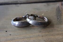 Silver Tone White Stag Hoop Earrings - $4.75