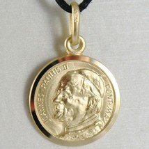 SOLID 18K YELLOW GOLD MEDAL, HOLY POPE JOHANNES PAULUS II, SAINT, 17 mm DIAMETER image 1