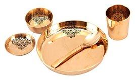 An item in the Pottery & Glass category: IndianArtVilla Bronze Kansa Utensil| 5 Piece Dinner Thali Set|1 Dinner Plate 1 B