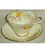 Paragon Cup & Saucer Wallflower Pattern Flowers Gold Trim England 1935 G... - $38.00