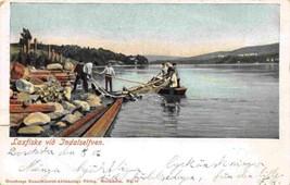 Salmon Fishing Laxfiske Indalsälven River Sweden 1906 postcard - $6.44