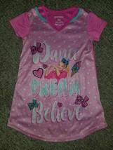 JOJO SIWA Pink Dance Dream Believe Short Sleeved Silky Nightgown Girls 4-5 - $4.88
