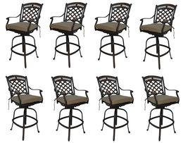 Bar height fire pit dining table 9 piece set cast aluminum patio furniture. image 6