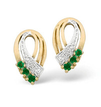 9K Gold plus Diamond & 8mm x 15mm Emerald Earrings
