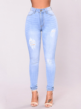 Women's Lightly Distressed Light Blue Pencil leg Denim Jeans - Boy Fly - $23.00
