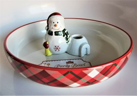 Whimsical Cupboard Christmas Holiday Plaid Party Appetizer Bowl Platter ... - $37.61