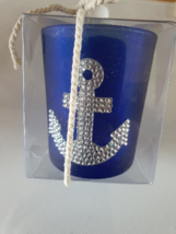 silver anchor on blue glass tealight holder votive candle - $7.60