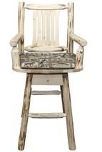 Log Upholstered Bar Stools Backs Swivels Arms Rustic Amish Made Lodge Ca... - £490.99 GBP
