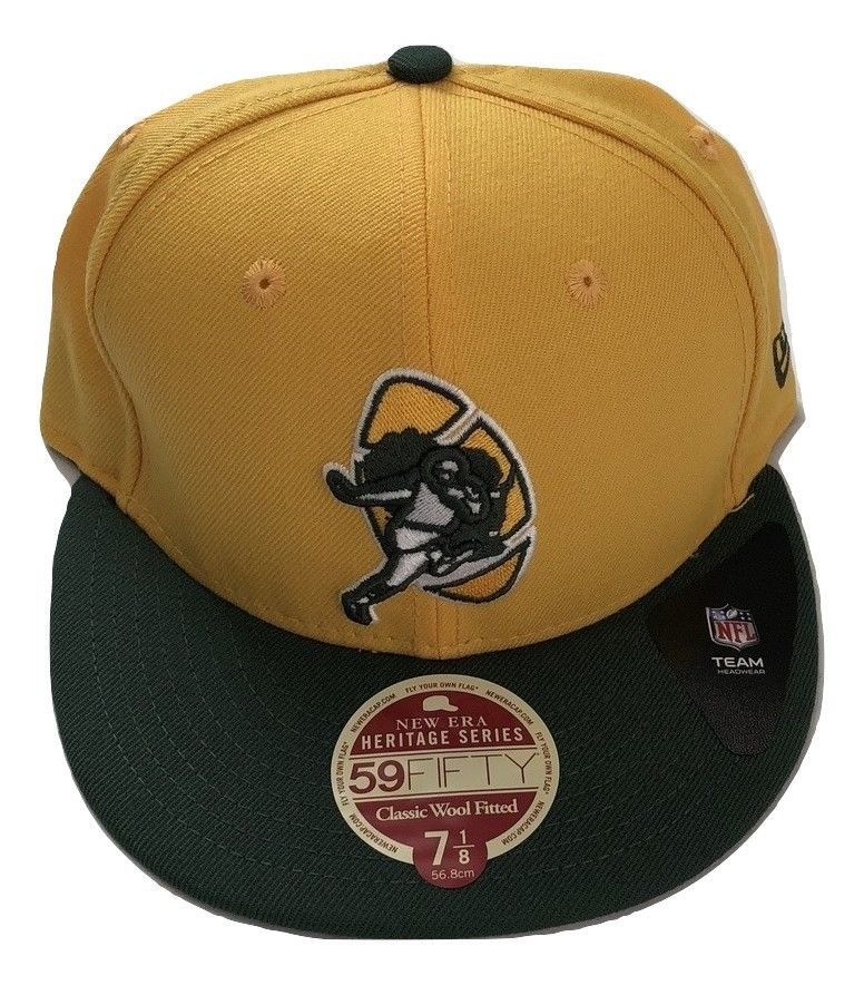 NWT New Green Bay Packers New Era 59Fifty Heritage Series Wool 7 1/8 Fitted Hat